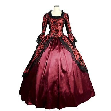 One-Piece Ball Gown Gothic Lolita Steampunk®/Vintage/Victorian Cosplay Lolita Dress Red Long Length Dress For Women Prom Reenactment Theatre Clothing 4328364 2017 – $132.21