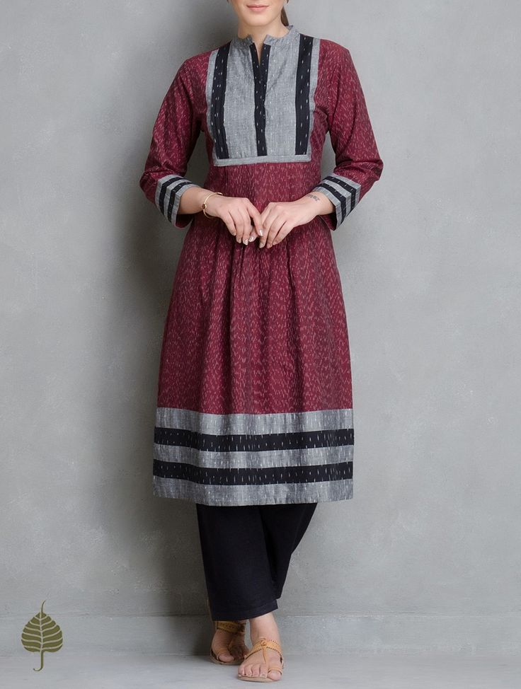 Buy Maroon Grey Black Ivory Handloom Ikat Cotton Pleated Kurta by Jaypore Women Kurtas Enigma and Pants Online at Jaypore.com