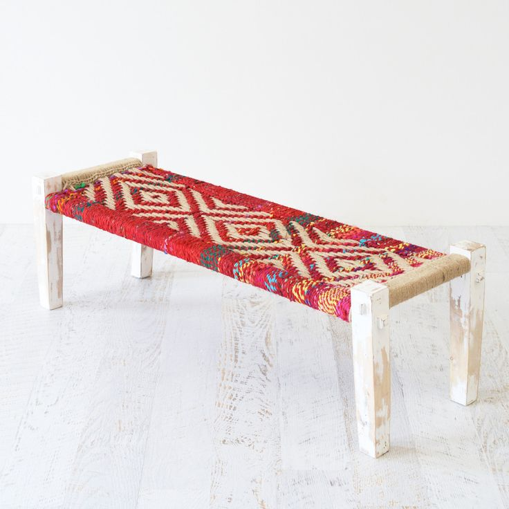 colourful woven bench
