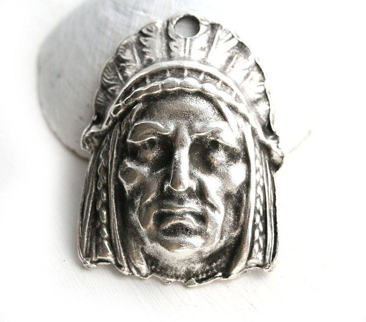 Native american indian chief Head Pendant bead, Antique Silver patina, metal large focal, 1pc - F040 by MayaHoney on Etsy