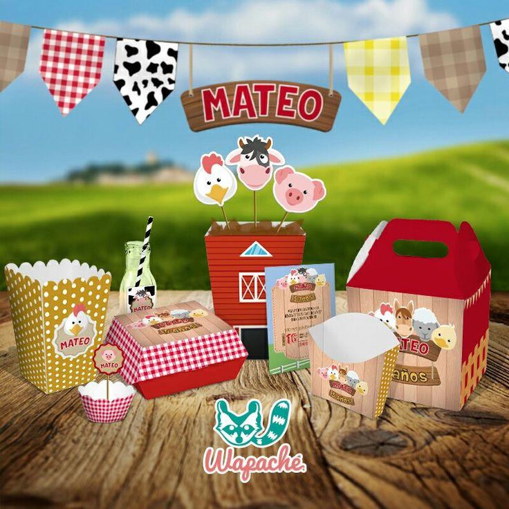 Kit Granja #personalized #farmparty #box #kitstematicos #surprise #banner #animalesdelagranja