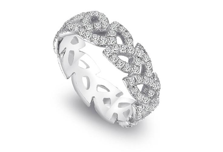 Saturn Jewels platinum open leaf design eternity band with diamonds