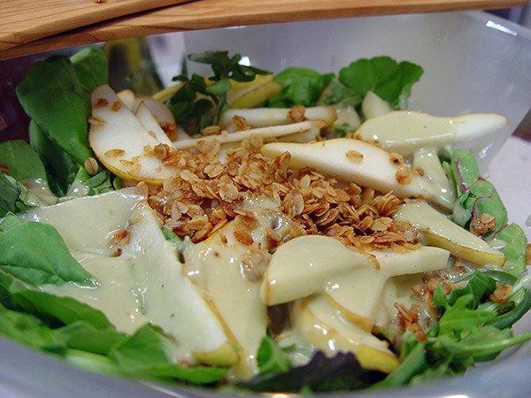 Pear Salad with Garlic Oat Crunch and Blue Cheese Dressing