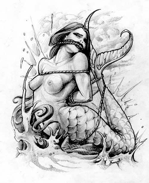 Tattoo flash - bondage and a mermaid tattoo flash - la esclavitud y una sirena tatuaje - tattoo flash