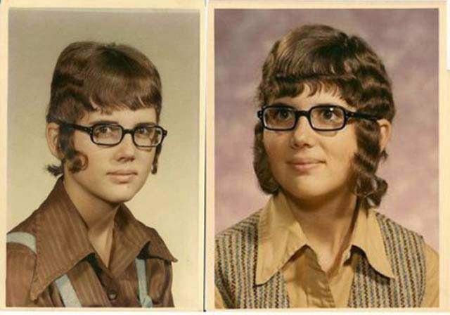 awkward old yearbook photos, girl with bad hair sideburn curls hanging. A 2 year comparison - looks like she growing it out.