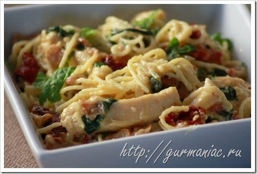 Рецепт спагетти карбонара со шпинатом и курицей