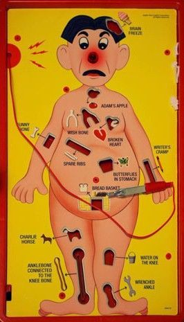 Operation Game - Operation is a battery-operated game of physical skill that tests players' hand-eye coordination and fine motor skills. The game's prototype was invented in 1964 by John Spinello,