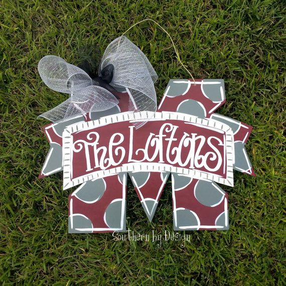 MSU M STATE, Mississippi State Wooden Door Hanger, Door Signs, Door Decorations, Go State, Go Dawgs, Starkville on Etsy, $25.00