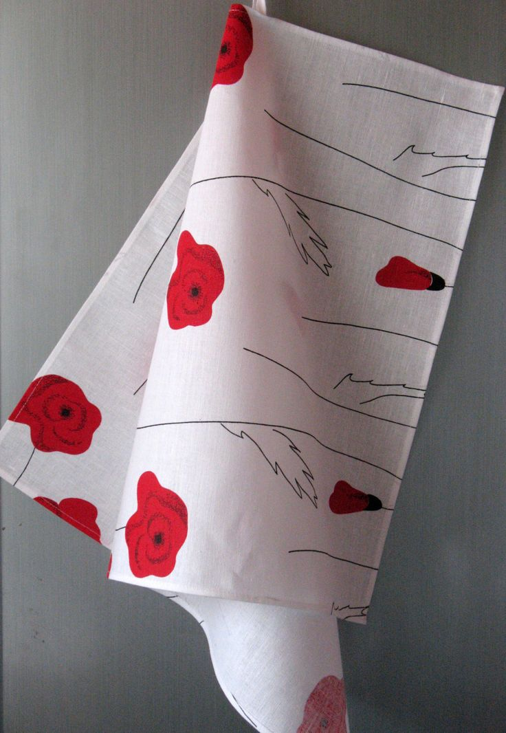 Linen Cotton Dish Towels Tea Towels Red Poppies Red Black White   Tea Towels  Set Of
