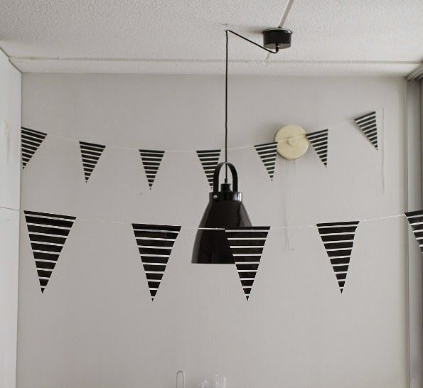 Pastellipisaroita: DIY: mustavalkoinen viiri nollabudjetilla