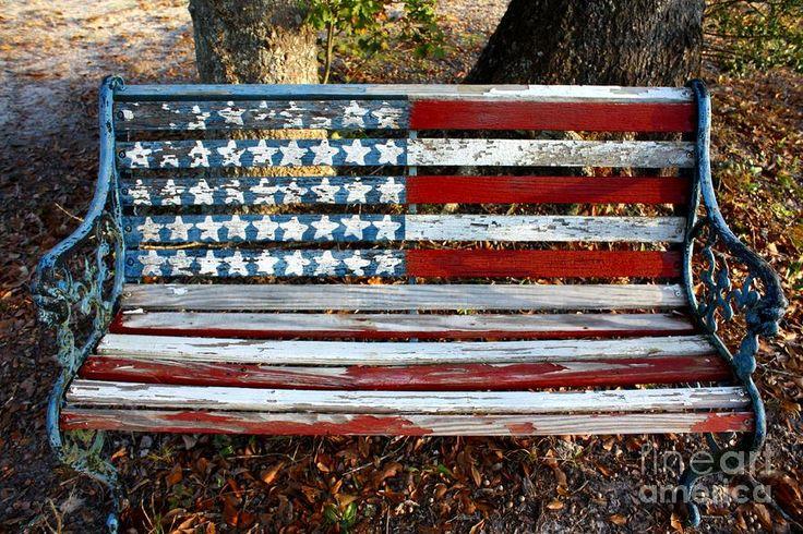 te gek bankje met Amerikaanse vlag.