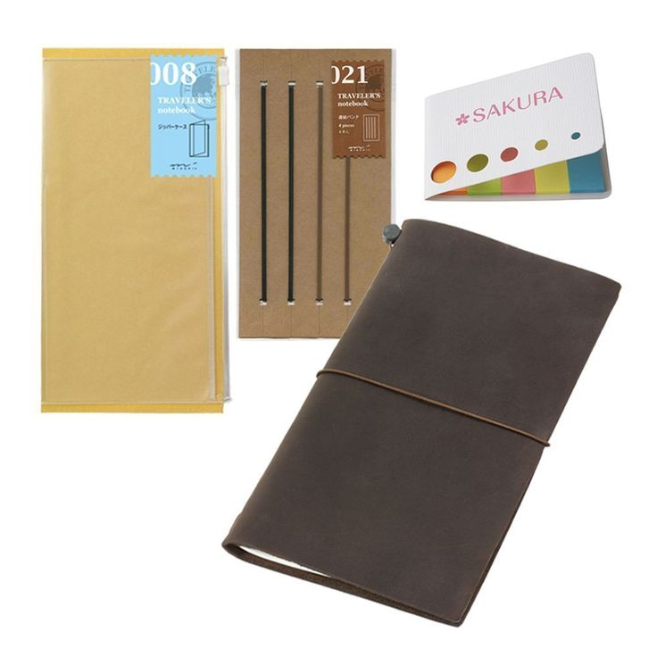 Midori Traveler's Notebook / Regular Size - Brown BUNDLE SET! Traveler's Notebook, Leather + Refill Connection Rubber Band + Refill Clear Zipper Case + Original 5 Colors Sticky Notes