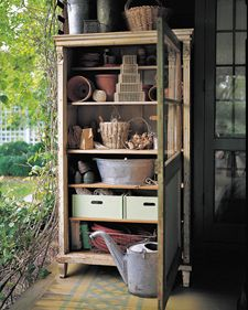 get an old cabinet from a thrift store and stick it outside for garden/shed storage.Ideas, The Doors, Gardens Tools, Potting Sheds, Martha Stewart, Screens Doors, Old Cabinets, Old Doors, Pots Sheds