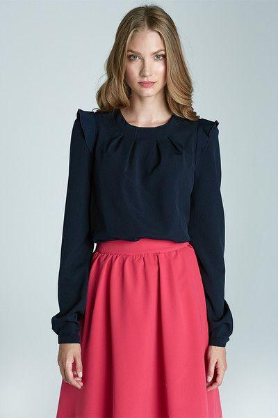 Bluzka+z+falbankami+na+ramionach+b60+-+granat+w+NIFE+Fashion+na+DaWanda.com