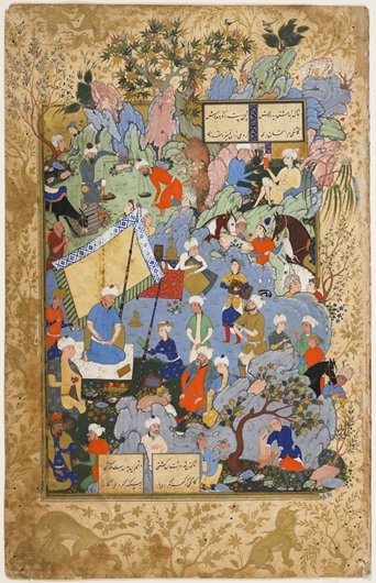 This luxurious work depicting a king and his courtiers picnicking in a mountain glade is a classic example of late sixteenth century Persian miniature painting. The exquisite, marginal drawing of animals stalking in the midst of lush gold foliage, the finely detailed and lyrically dynamic composition, and the decorative use of color perfectly define Safavid court taste. The scene is drawn from the Khamsa, or Five Poems, by Nizami (1141-1202).