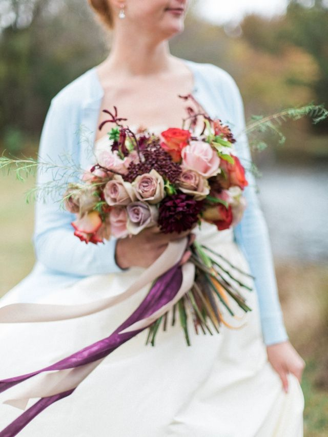 Bouquet with ribbons | Live View Studios | see more on: http://burnettsboards.com/2015/03/anne-green-gables-wedding-inspiration/
