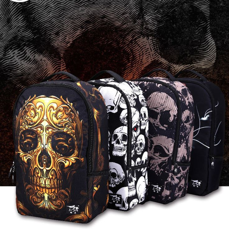 Fashion Skull Backpack Boys School Bags Teenager Bookbags Men Rucksack Large