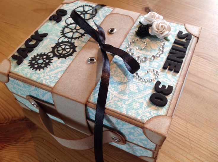 Kuffert lavet til 2x30 års fødselsdag. Memorybox die gearworks border.