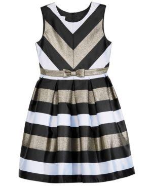 Bonnie Jean Metallic-Stripe Party Dress, Big Girls (7-16) - Silver 16