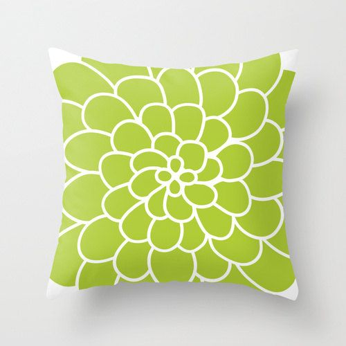 Modern Spring Succulent Flower Throw Pillow Cover - Green - Abstract Flower Decorative Pillow ...