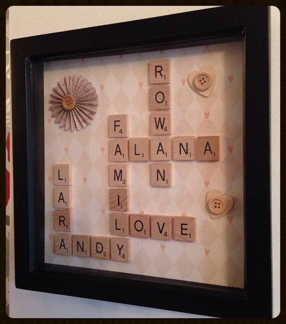 Family words names personalised scrabble art frame on Etsy, £20.00
