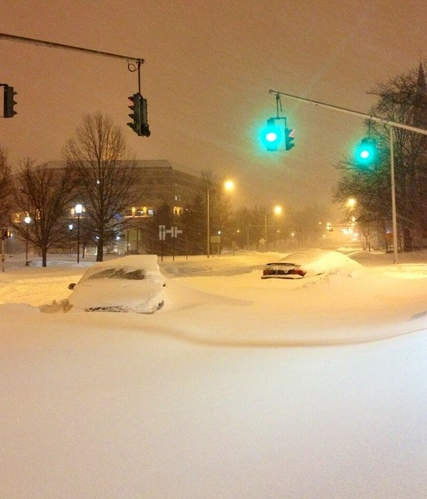 Feb 9,2013 - Overnight snow in Hartford, CT. Green light but does not look like these two cars are going anywhere!