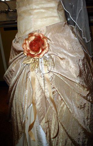 rustic rose detail on wedding dress