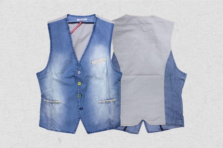 Gilet denim puro cotone  (retro in tessuto stampato) Made in Italy #clothing #abbigliamento #oliverhill1723 #man #fashion #vintage