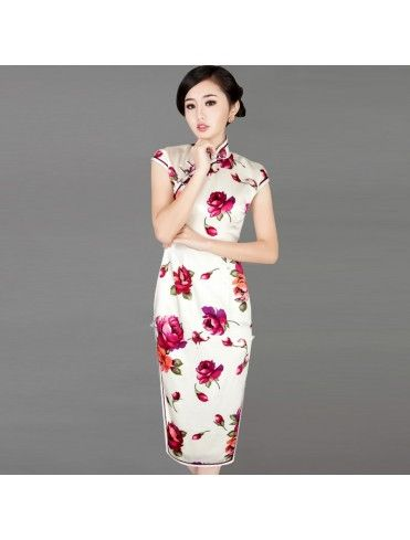 Fashionable Floral Spandex Silk Qipao Dress