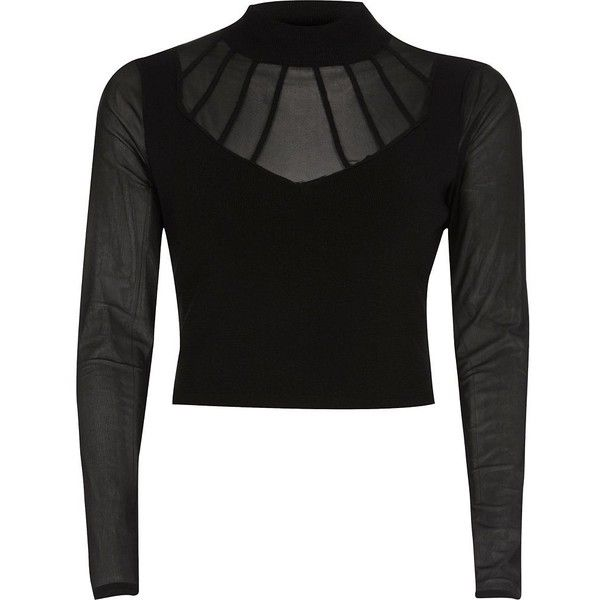 River Island Black mesh turtleneck crop top ($70) ❤ liked on Polyvore featuring tops, black, knitted tops, knitwear, women, sheer sleeve top, river island, long sleeve turtleneck top, mesh crop top and tall tops