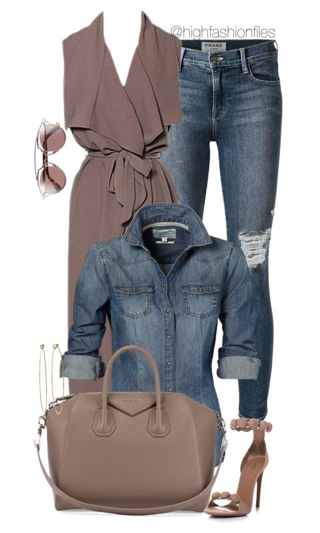 """""""Denim x Muted Grey"""" by highfashionfiles ❤ liked on Polyvore featuring Frame Denim, Givenchy, Alaïa, Dean Harris and Christian Dior"""