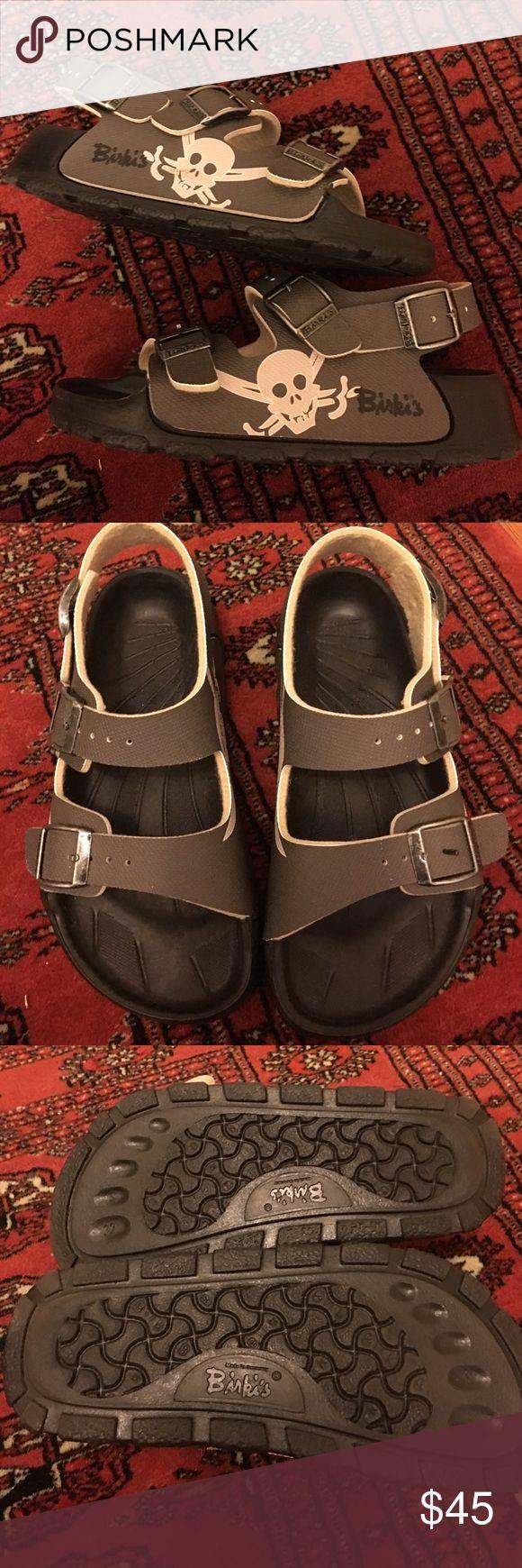 NWT kids Birki sandals sz 32 (1-1.5 US) Super cool dark green Birki sandal- with skull/cross.  Hard to find in US - but are best sandals for kids. Waterproof and comfortable. Birkenstock Shoes Sandals & Flip Flops