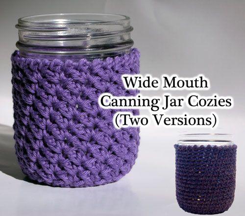 Wide Mouth Canning Jar Cozies - Free Crochet Patterns on www.mooglyblog.com