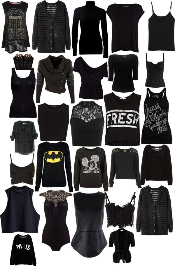 """""""black tops"""" by redwhitethankyou ❤ liked on Polyvore"""