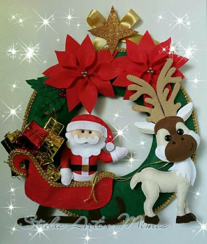 @Natale 2017,Babbo Natale, renna,slitta,feltro, pannolenci