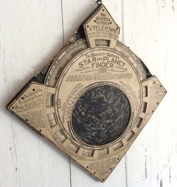 Antique moveable planisphere, designed by Garrett Serviss and illustrated by Leon Barritt in 1906. Made of lithographed card stock, this map of the