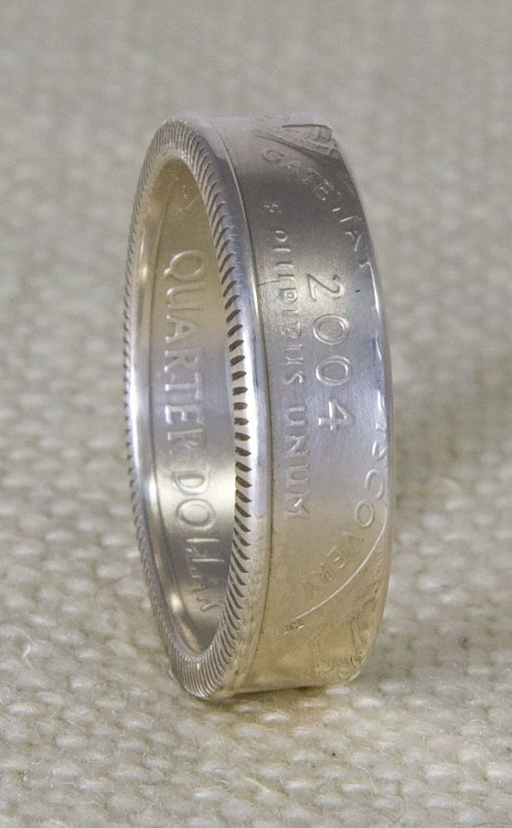 2003 Silver Coin Ring State Quarter Dollar Size 3-13 Illinois Alabama Missouri Arkansas Maine 12 Year Wedding Anniversary Band 12th Birthday