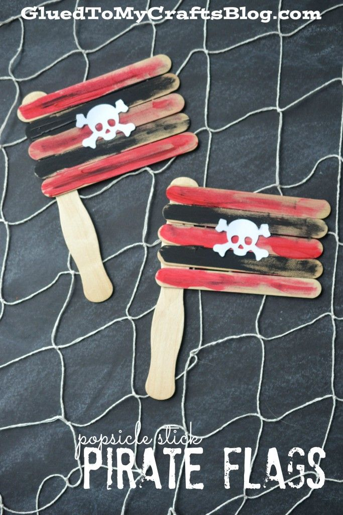 Popsicle Stick Pirate Flags {Kid Craft}