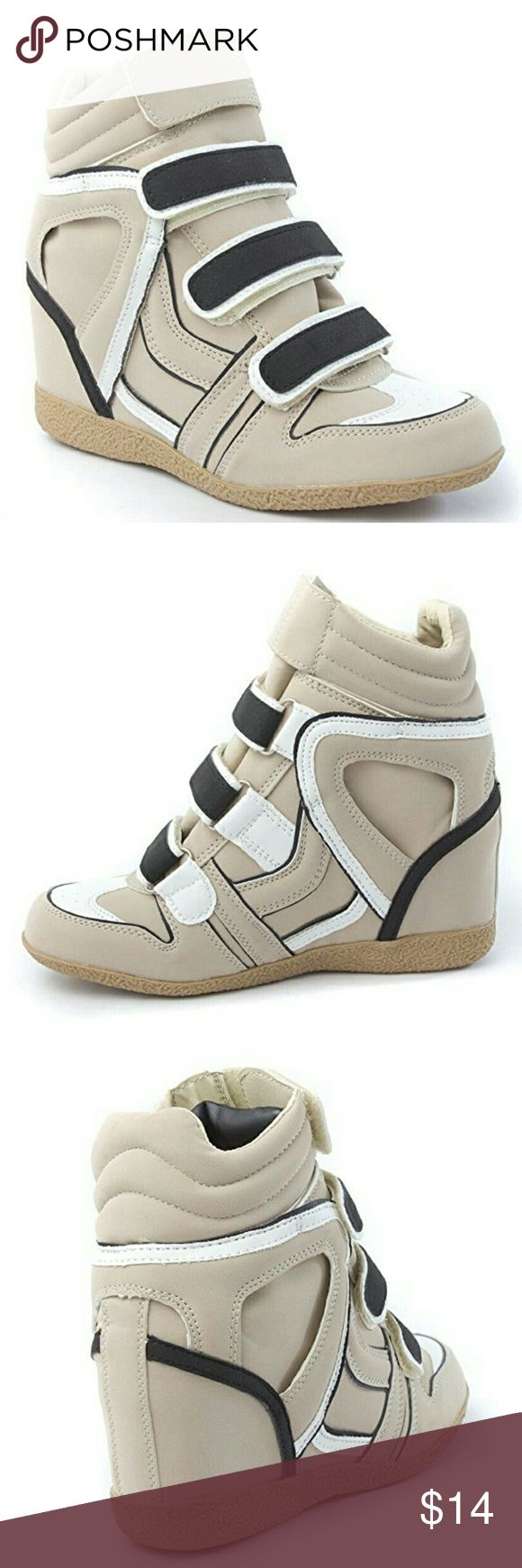 Nude Hidden Wedge Sneaker Fashionable nude, high heeled, wedge sneaker with navy blue straps. Fun and stylish sneakers that combine high heels or wedges with the en-trend sneaker. Neutral colors are always my go-to color when it comes to style. Stay comfortable and fresh in these cool sneakers. Like New, only worn once before. Shoes Sneakers