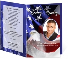 Patriotic or Military Funeral Programs: Freedom Single Fold Memorial Service Program