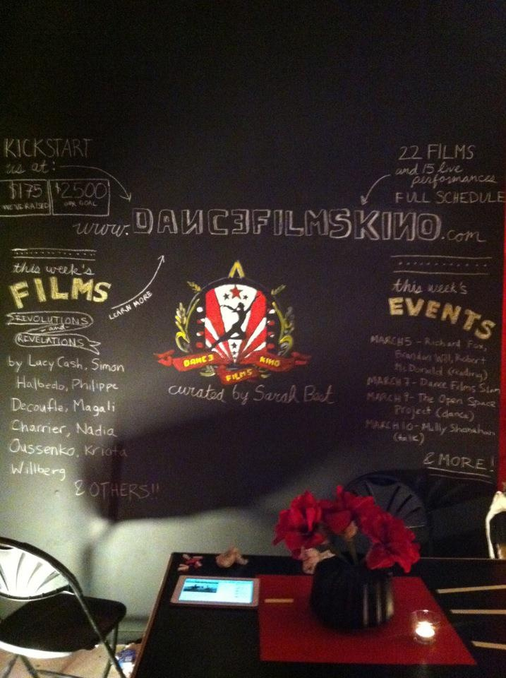 The chalkboard wall at Dance Films Kino features this week's featured artists and events. http://www.dancefilmskino.com