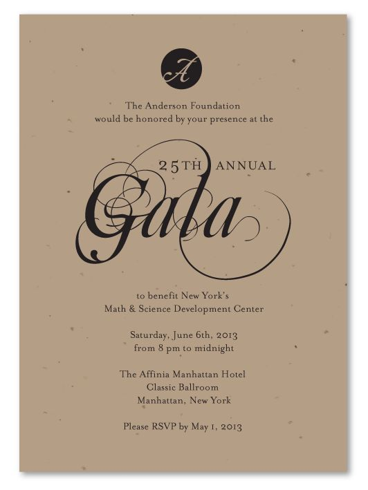Plantable Gala Invitations Green Business Print Fancy