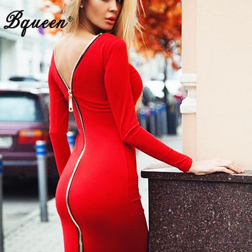 ==> [Free Shipping] Buy Best Bqueen 2017 New Arrival Red Zipper Long Sleeve Bandage Winter Dress Mid-Length Online with LOWEST Price | 32767082154