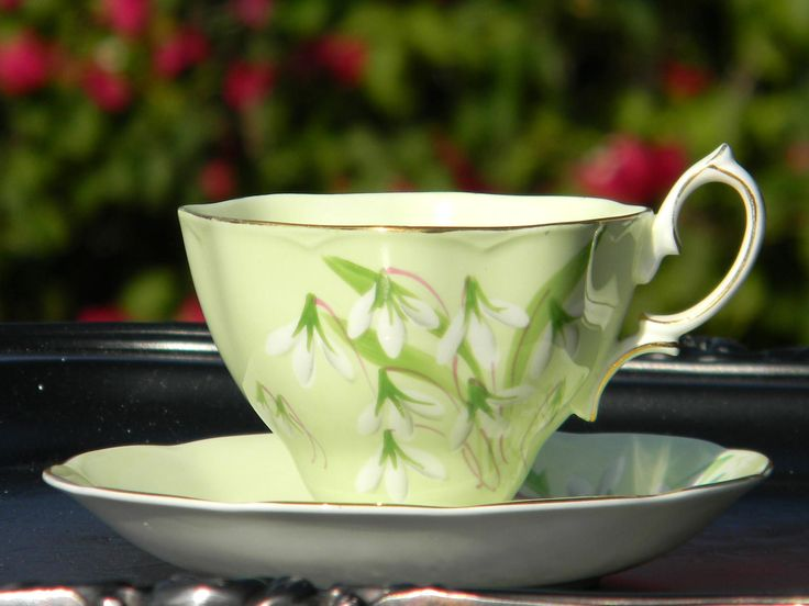 Royal Albert Laurentain Snowdrop Tea Cup and Saucer, Collectible English High Handled Teacup