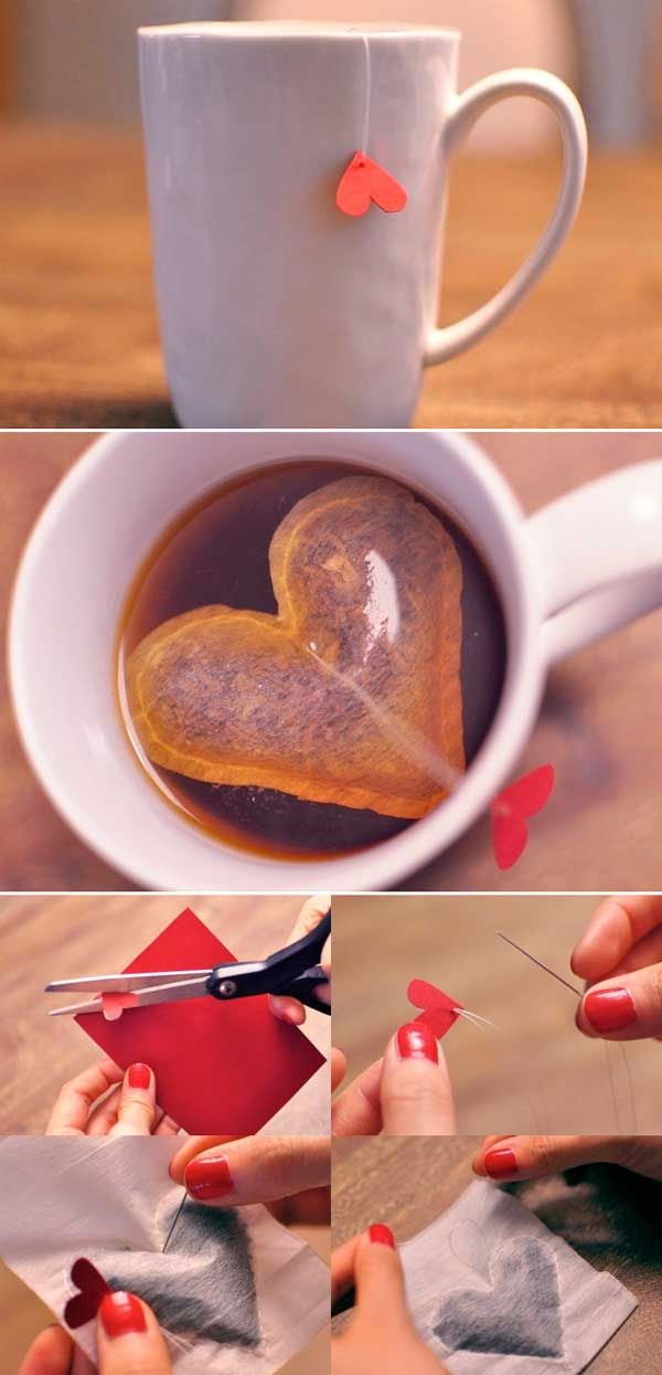 Heart tea bangs and other cute and easy #heart-shaped #crafts. #DYI