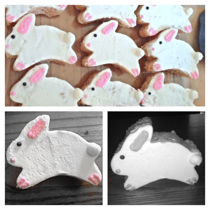 Rice crispy Easter  bunnies  With buttercream frosting.