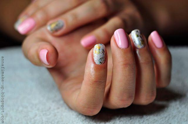 manicure hybrydowy, semilac, pink peach milk, biscuit, folia na paznokciach,