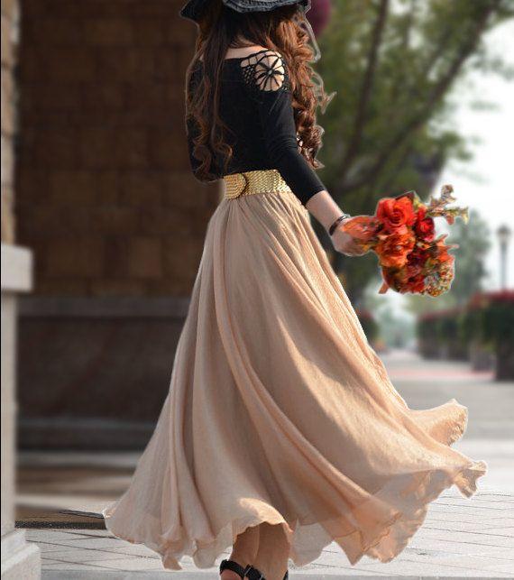 Maids Chiffon Maxi Skirt-Spring Long Skirt Maxi Dress Silk Skirt Summer Beach Skirt  In Gold Bean-WH124 ,XS-L