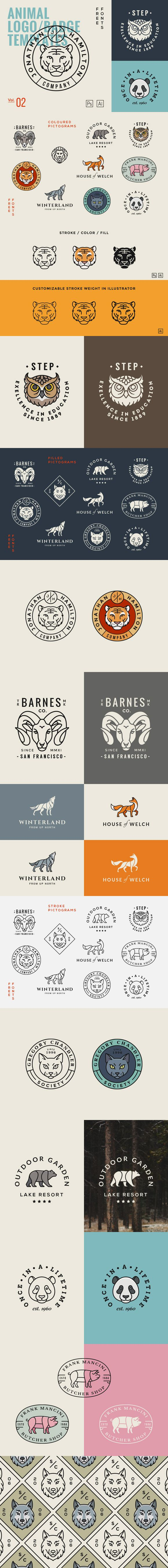 A mix of 10 #animal #logo templates that can be used for #branding projects, apparel design or anything else you can think of. Just edit the text with your own copy and you're good to go #photography #bloggers #traveling #hiking #NGO #forest
