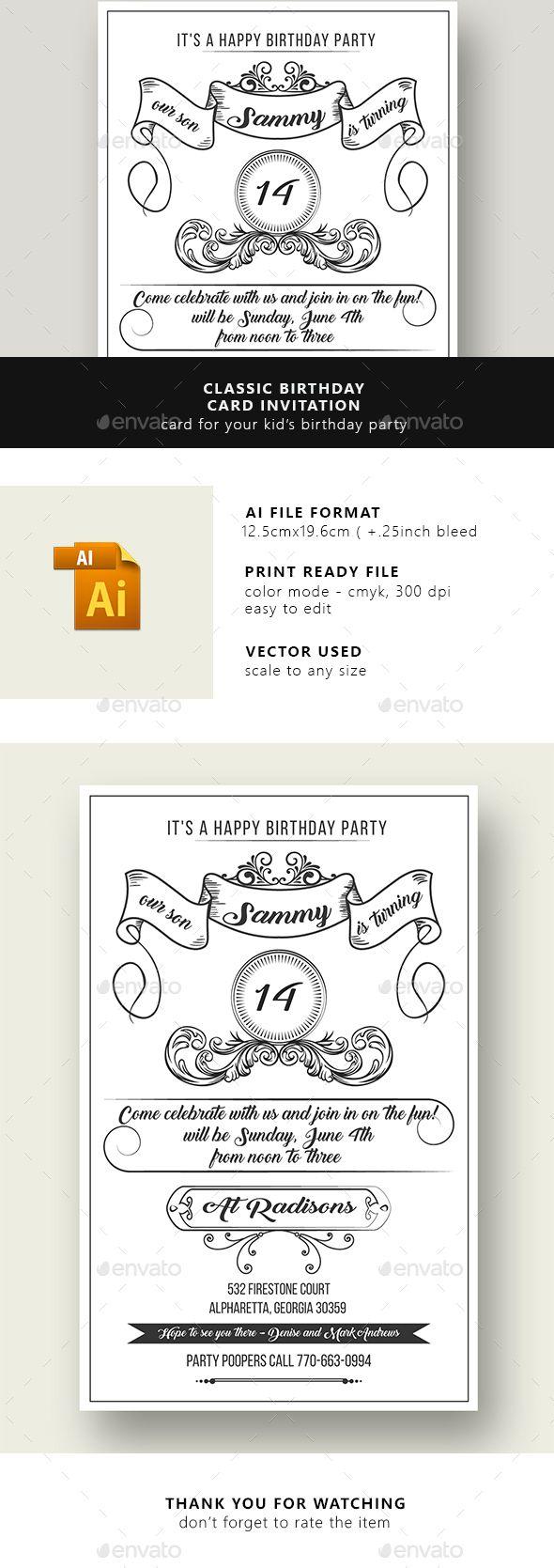 Unique Birthday Invitation Card Template Ideas On Pinterest - Birthday invitation card eps
